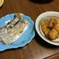 小さくても旨いタチウオの塩焼きとアジのフライ